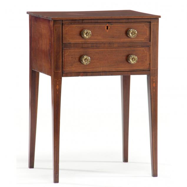 southern-federal-inlaid-two-drawer-side-table