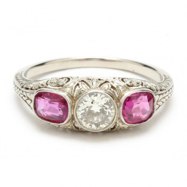 edwardian-18kt-white-gold-diamond-and-ruby-ring