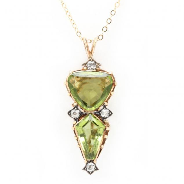 vintage-peridot-and-diamond-pendant-necklace