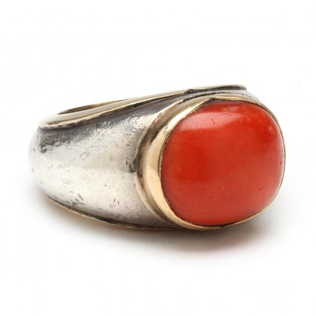 silver-gold-and-coral-ring-s-dudmesh