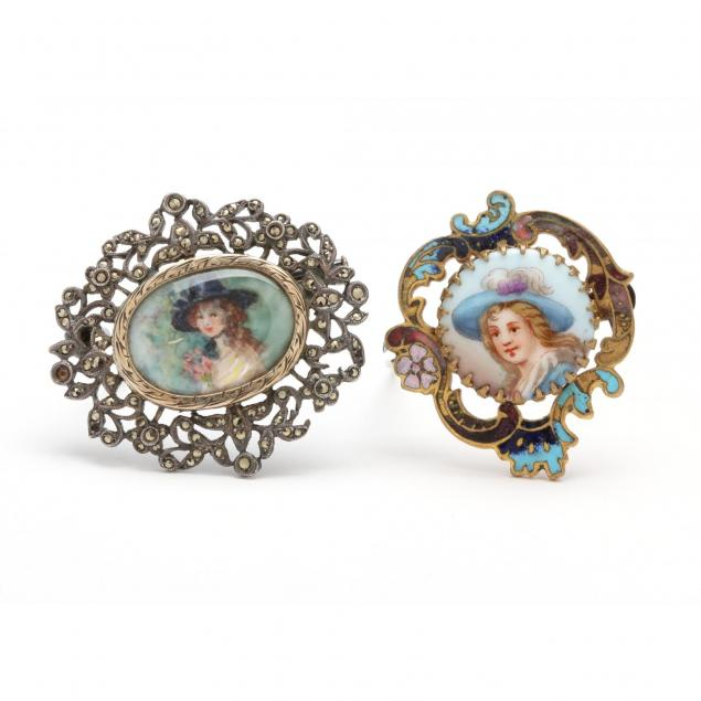 two-antique-portrait-brooches