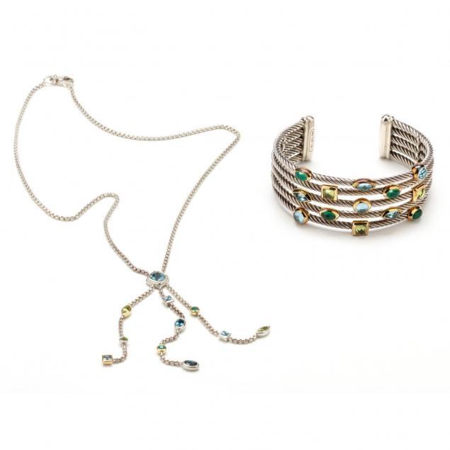 sterling-and-18kt-gem-set-bracelet-and-necklace-david-yurman