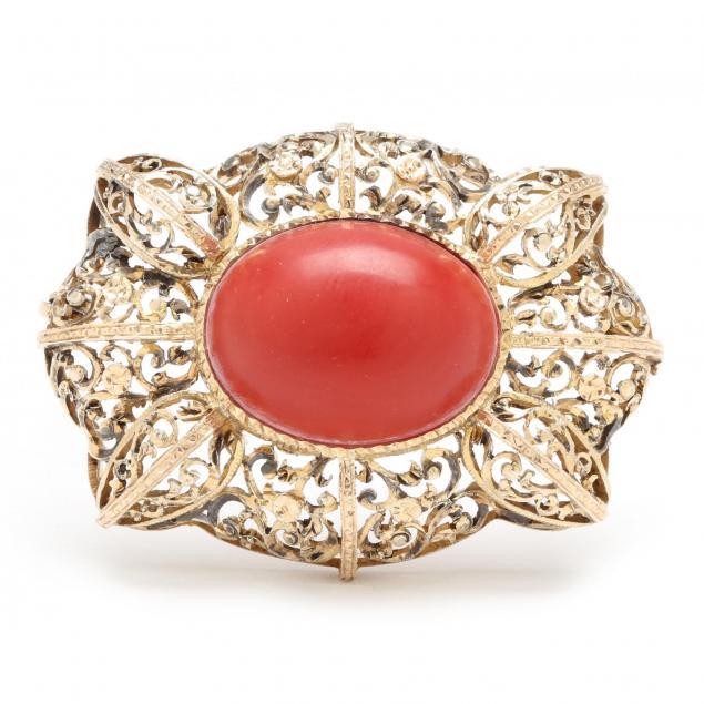 vintage-vermeil-coral-brooch