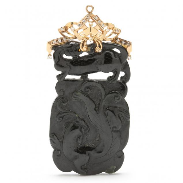 14kt-carved-black-pendant-with-gold-and-diamond-mount