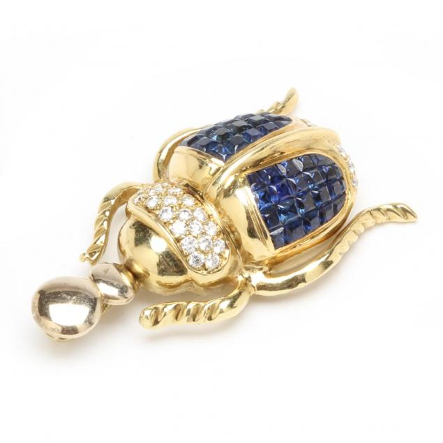 18kt-sapphire-and-diamond-scarab-pendant