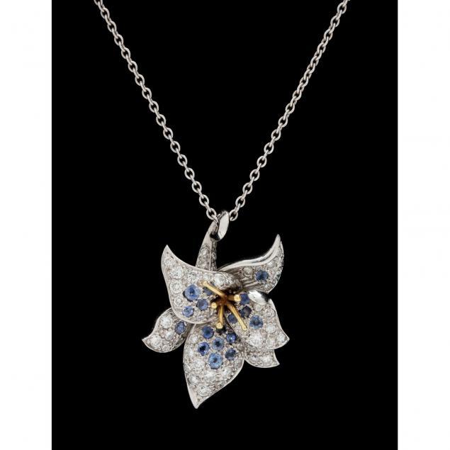 18kt-white-gold-diamond-and-sapphire-pendant-neckace