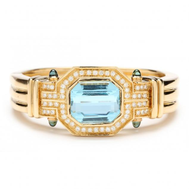 18kt-topaz-diamond-and-tourmaline-cuff-bracelet