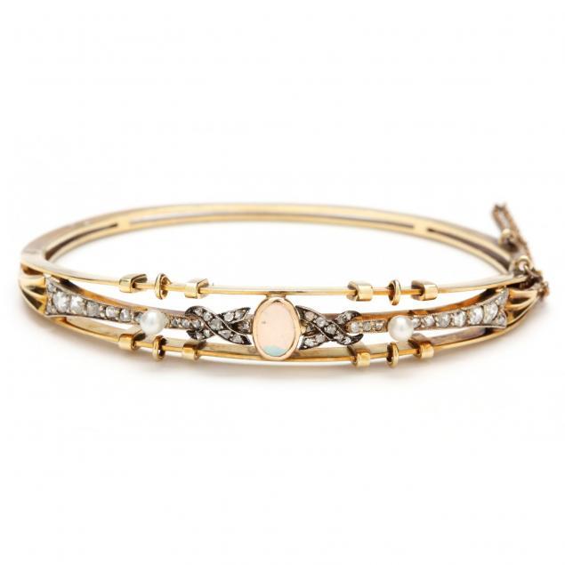 antique-14kt-opal-diamond-and-pearl-bracelet