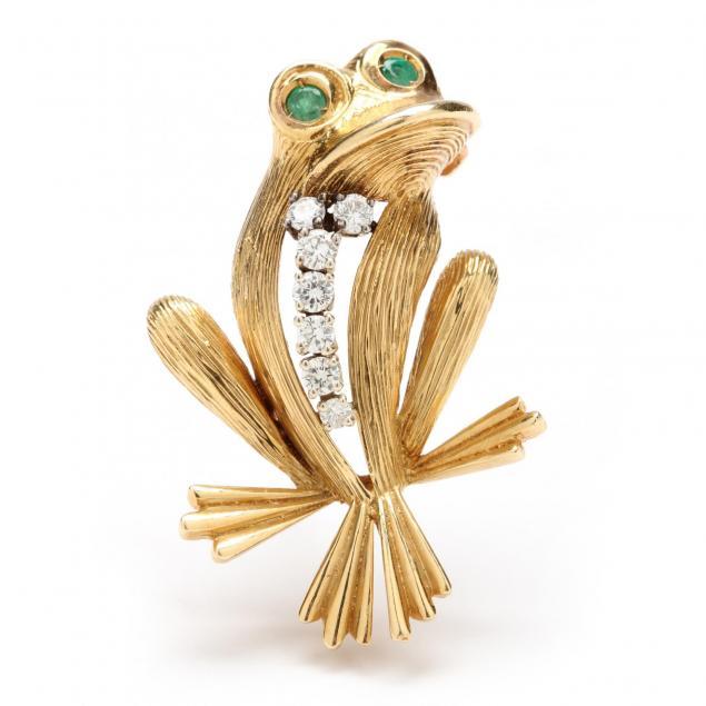 18kt-diamond-and-emerald-figural-brooch