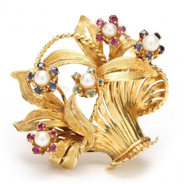 18kt-pearl-and-gem-set-brooch