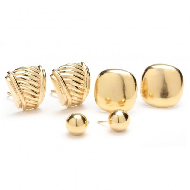 three-pair-14kt-yellow-gold-earrings