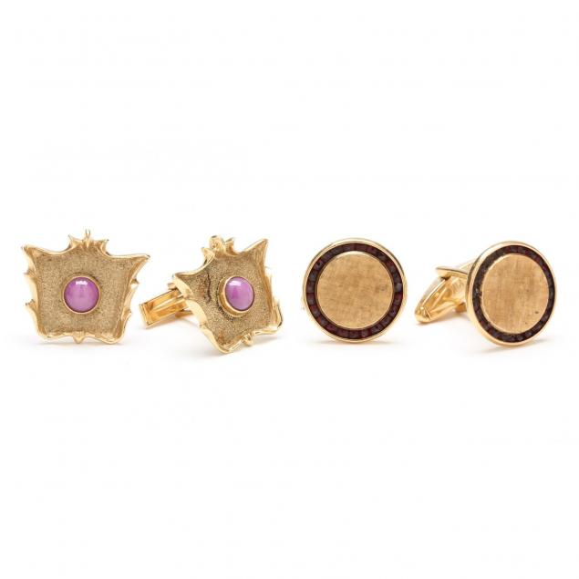 two-pair-14kt-yellow-gold-and-gemstone-cufflinks-signed