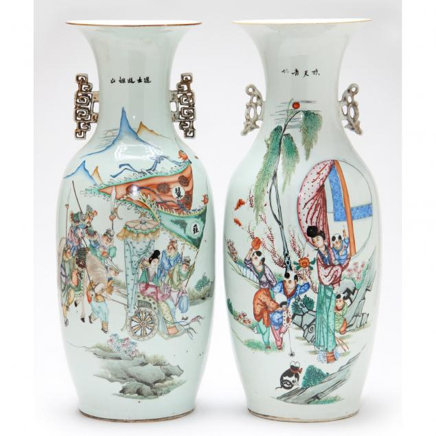 near-pair-of-chinese-wucai-floor-vases