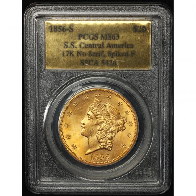 1856-s-20-gold-pcgs-ms63-from-the-ss-i-central-america-i