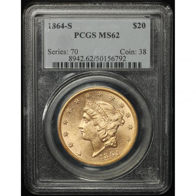 1864-s-20-gold-pcgs-ms62
