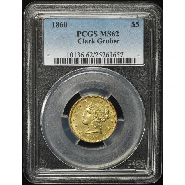 colorado-territorial-gold-1860-clark-gruber-5-pcgs-ms62