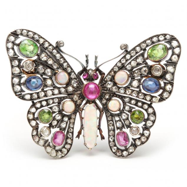 antique-18kt-gold-and-gemset-butterfly-brooch-french