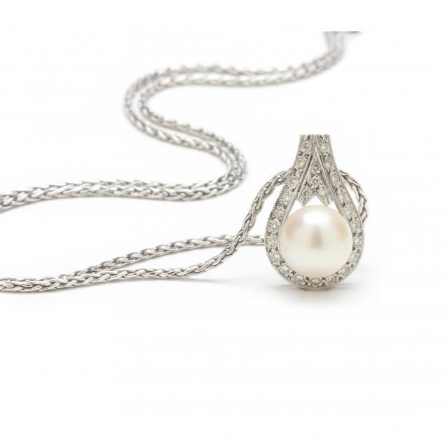 18kt-diamond-and-pearl-pendant-necklace-unoaerre