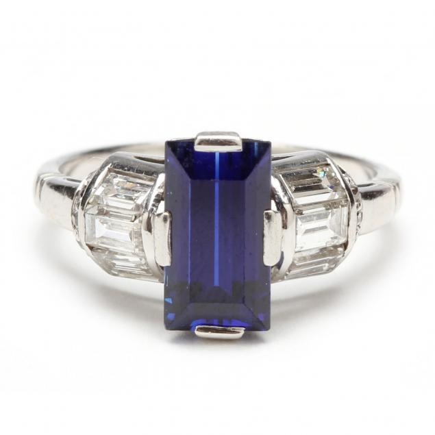 art-deco-platinum-synthetic-sapphire-and-diamond-ring