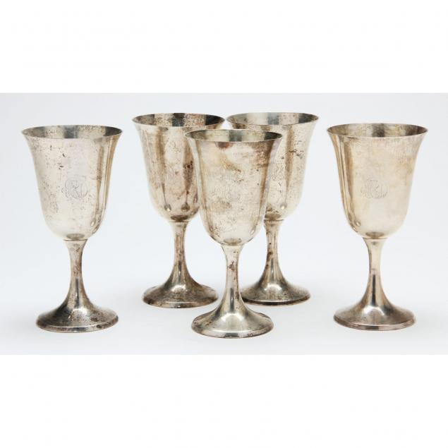 set-of-five-sterling-silver-water-goblets