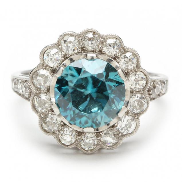 antique-platinum-diamond-and-blue-zircon-ring