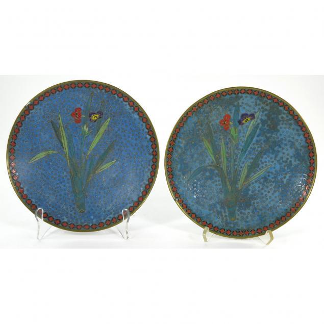 pair-of-cloisonne-cabinet-plates