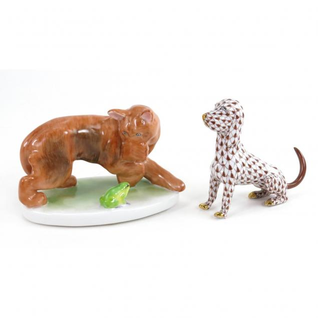 two-herend-dog-figures