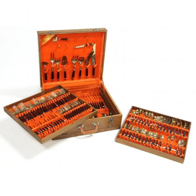 mid-century-thai-brass-and-wood-flatware-set