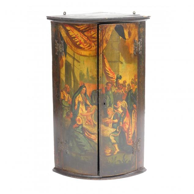 continental-painted-barrel-form-hanging-corner-cabinet