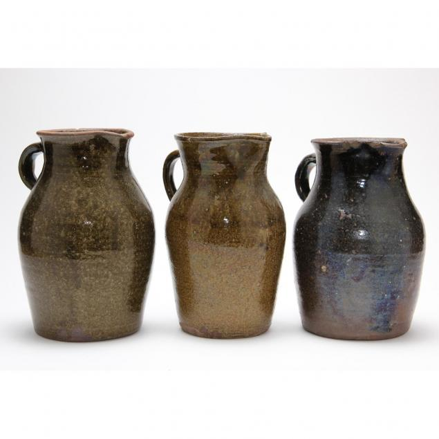 group-of-three-nc-pottery-pitchers