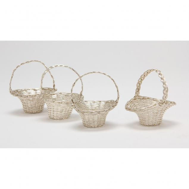 four-miniature-silver-woven-baskets