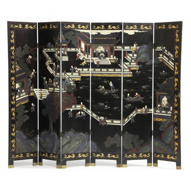 chinese-six-panel-carved-and-lacquered-screen