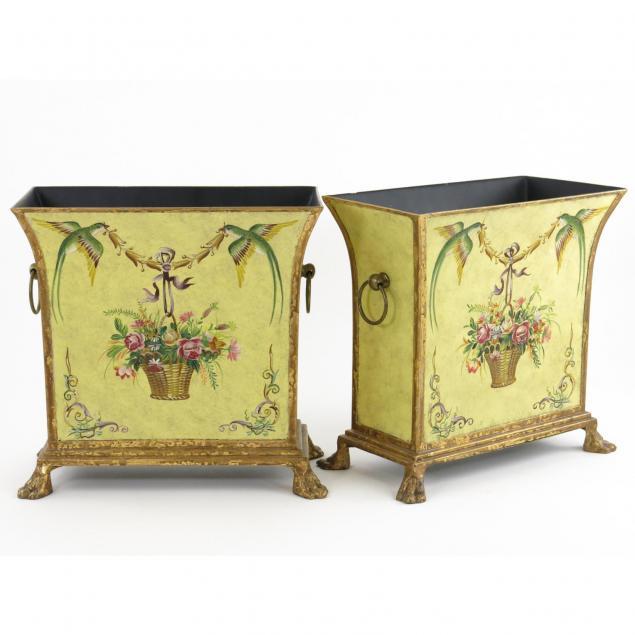 pair-of-decorative-toleware-planters