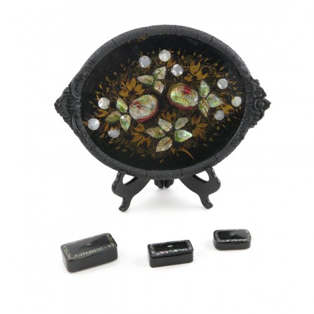 antique-mache-tray-and-snuff-boxes