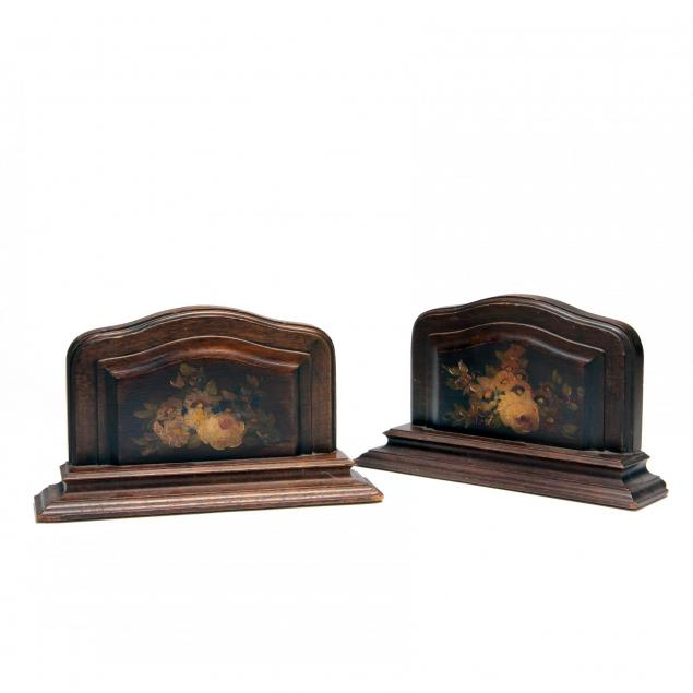 pair-of-painted-wood-bookends