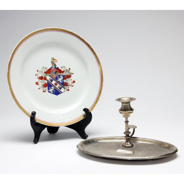 antique-chamberlains-worcester-plate-and-chamber-stick