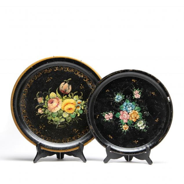 two-round-vintage-toleware-trays