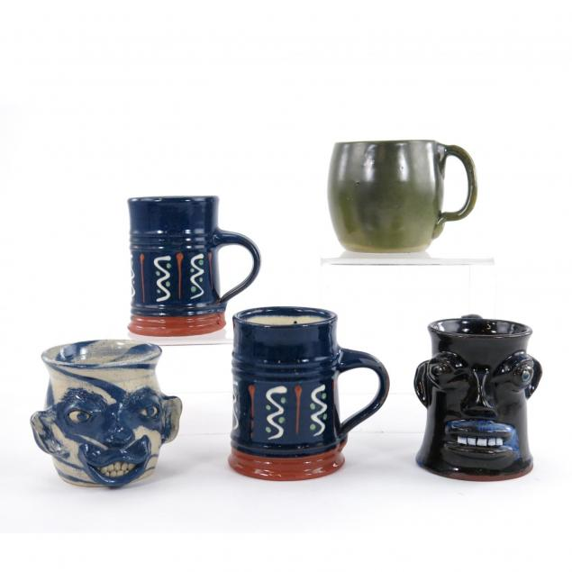 five-pottery-mugs