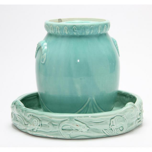 two-mid-century-turquoise-glazed-items