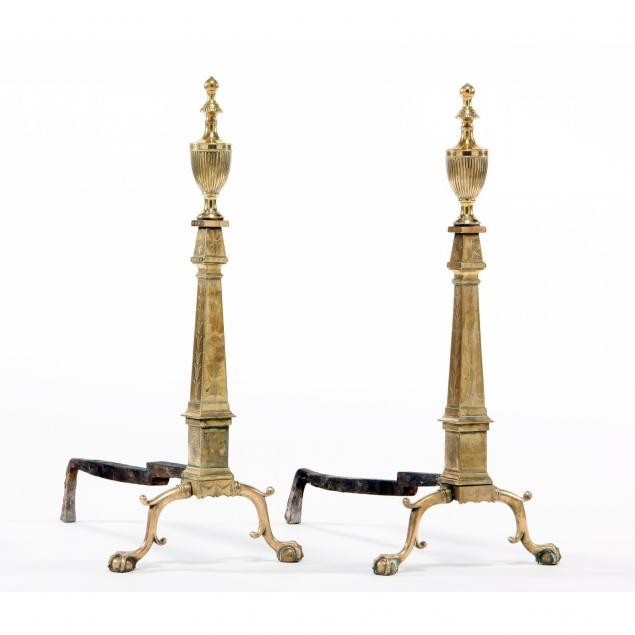 important-pair-of-federal-engraved-brass-andirons