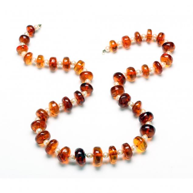 amber-and-chinese-freshwater-baroque-pearl-necklace