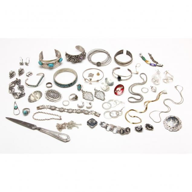 exotic-assortment-of-silver-silvertone-jewelry