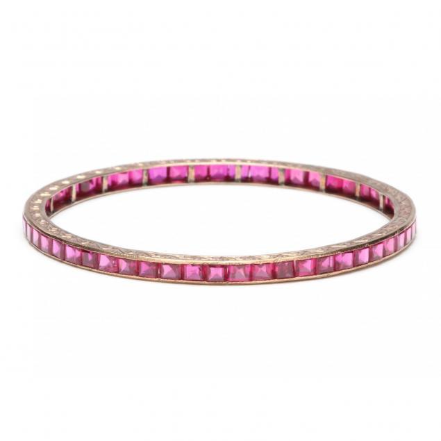 vintage-14kt-rose-gold-and-ruby-bracelet