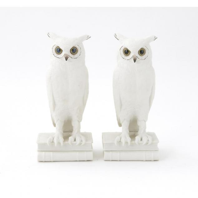 boehm-white-bisque-pair-great-horned-owls