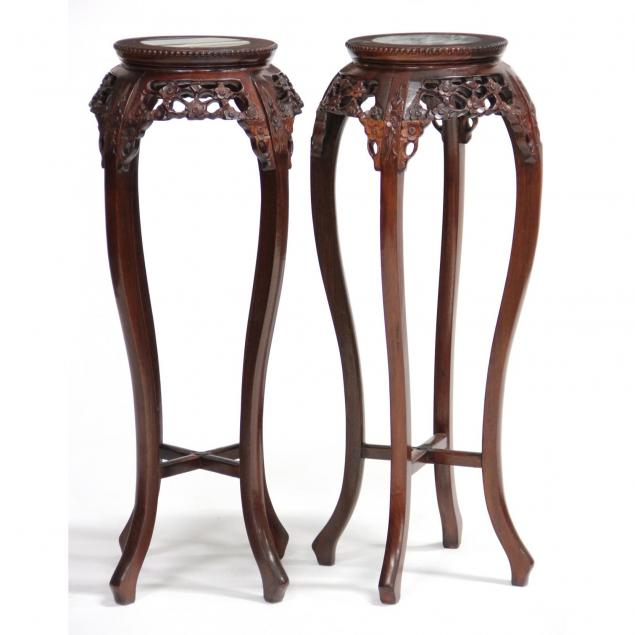 pair-of-chinese-marble-top-plant-stands