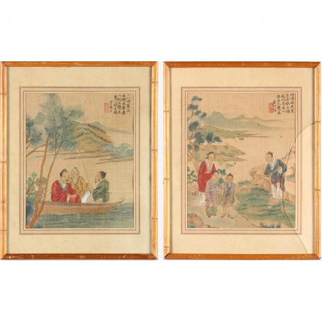 two-chinese-village-scene-paintings-on-silk
