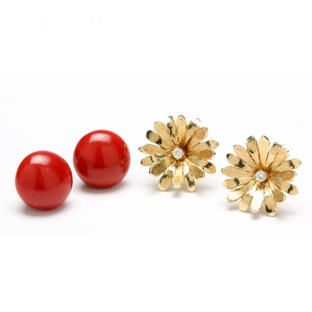 a-pair-of-14kt-coral-earrings-and-a-pair-of-14kt-diamond-earrings