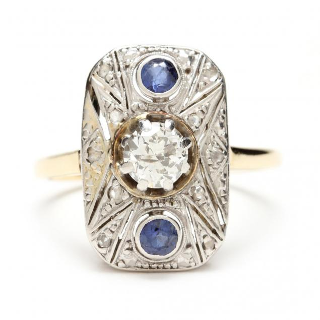 art-deco-platinum-topped-gold-diamond-and-sapphire-ring