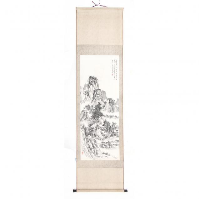 chinese-ink-scroll-painting-of-a-mountainous-landscape