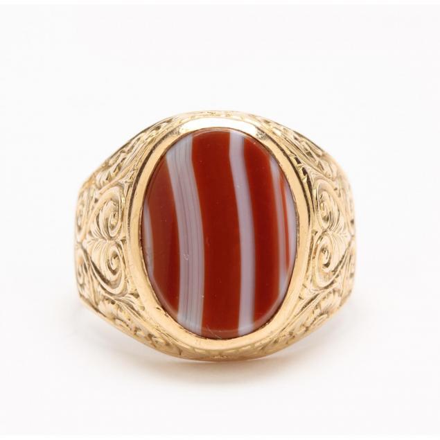 gent-s-18kt-vintage-banded-agate-ring